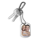 Stainless Steel Photo Dog Tag Keychain