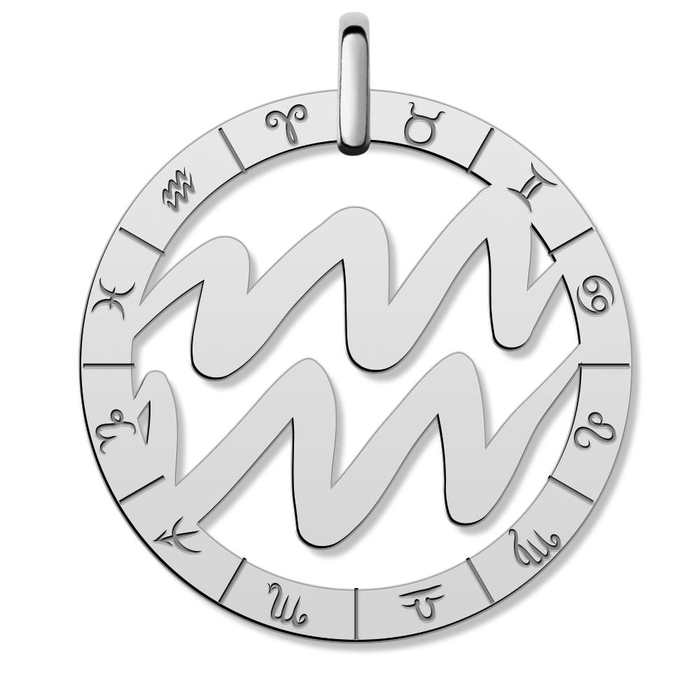 Cutout Round Aquarius Symbol Charm Or Pendant Pg94427