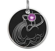 Aquarius Symbol Round Charm or Pendant w  Birthstone