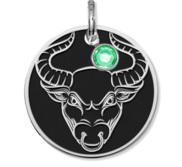 Taurus Symbol Round Charm or Pendant w  Birthstone