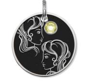 Gemini Symbol Round Charm or Pendant w  Birthstone