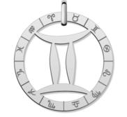 Cutout Round Gemini Symbol Charm or Pendant
