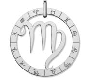 Cutout Round Virgo Symbol Charm or Pendant