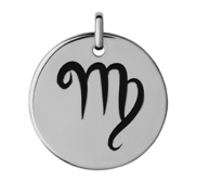 Virgo Black Enameled Round Disc Charm