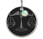 Libra Symbol Round Charm or Pendant w  Birthstone