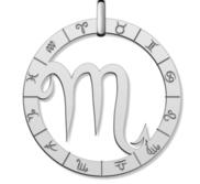 Cutout Round Scorpio Symbol Charm or Pendant