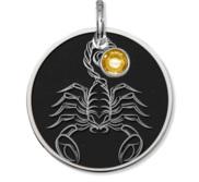 Scorpio Symbol Round Charm or Pendant w  Birthstone