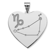 Capricorn Symbol Heart Charm or Pendant