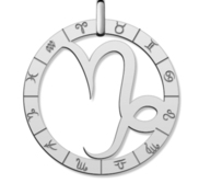 Cutout Round Capricorn Symbol Charm or Pendant