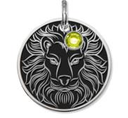 Leo Symbol Round Charm or Pendant w  Birthstone