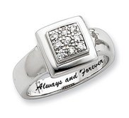 Sterling Silver Square Shaped w  Round Cubic Zirconia Promise Ring