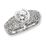 Sterling Silver Round Cubic Zirconia Promise Ring