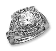 Sterling Silver Round 8 10mm Cubic Zirconia Promise Ring w  Halo