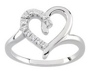 Solid Gold Diamond Heart Shaped Promise Ring