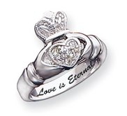 Sterling Silver Claddagh Cubic Zirconia Promise Ring