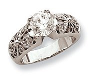 Sterling Silver Round Clear Cubic Zirconia Polished Promise Ring