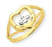 10k Yellow Gold   Rhodium Cubic Zirconia Claddagh Promise Ring