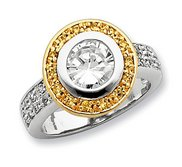 Sterling Silver Vermeil Cubic Zirconia Promise Ring w  Halo