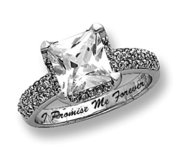 Sterling Silver Square Cubic Zirconia Promise Ring