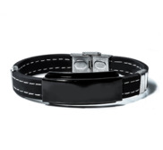 Engraved Black Stainless Steel ID Bracelet with Black Rubber Stitched Band