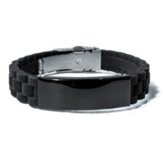 Engraved Black Stainless Steel ID Bracelet with Black Rubber Band