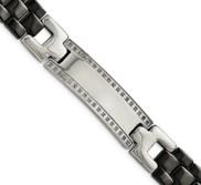 Stainless Steel Ceramic Polished 1 4ct Tw  Diamond 8 75in Bracelet