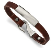 Custom Engraved Stainless Steel Men s Brown Leather ID Bracelet