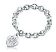 Custom Engraved Sterling Silver Women s Tiffany Style Heart Bracelet with Lobster Claw