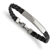 Custom Engraved Stainless Steel Women s Leather ID Bracelet