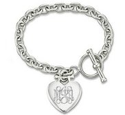 Custom Engraved Sterling Silver Women s Tiffany Style Heart Bracelet with Toggle Locket
