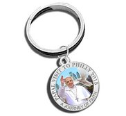 Pope Francis   Papal Visit Philadelphia 2015 Color Religious Engravable Keychain